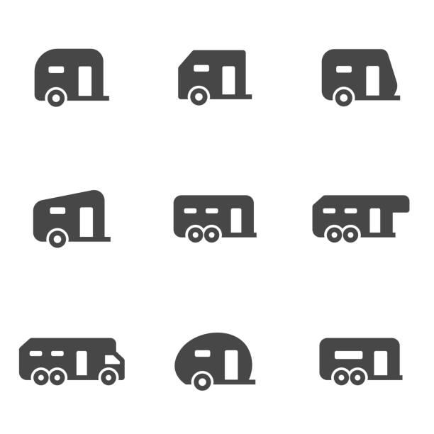 stockillustraties, clipart, cartoons en iconen met vector zwarte aanhangwagen pictogrammen instellen - caravan