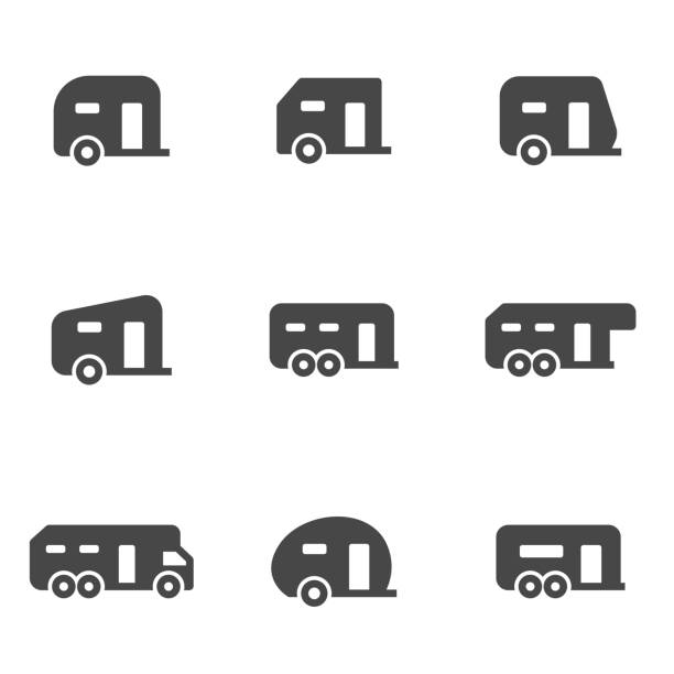 vector black trailer icons set - caravan stock illustrations