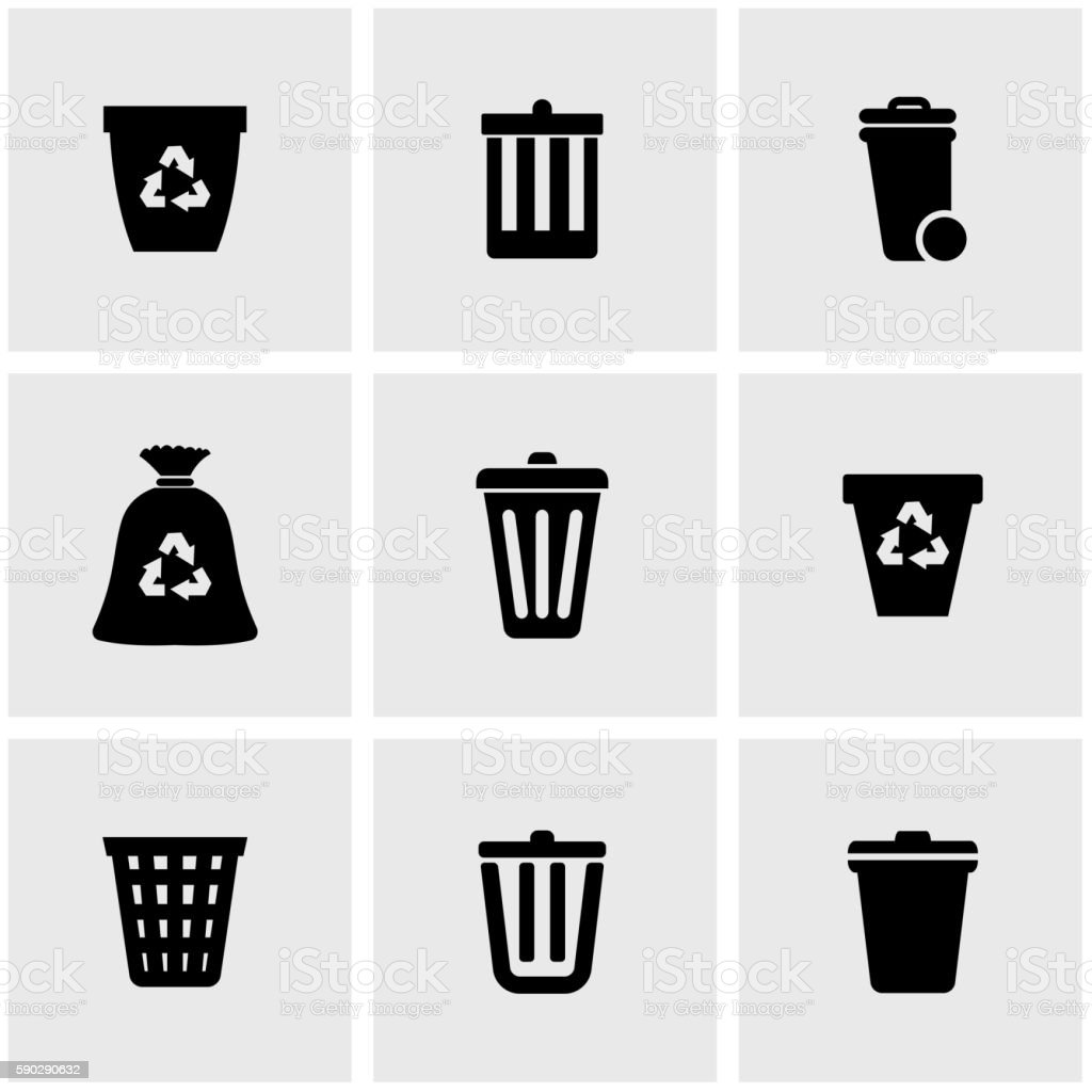 Vector black trash can icon set royaltyfri vector black trash can icon set-vektorgrafik och fler bilder på arrangera