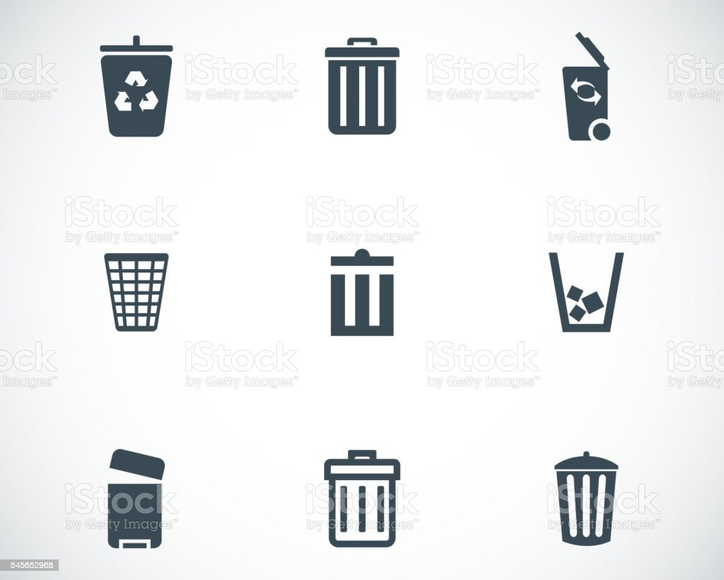 Vector black trash can icons set royalty-free vector black trash can icons set stock illustration - download image now
