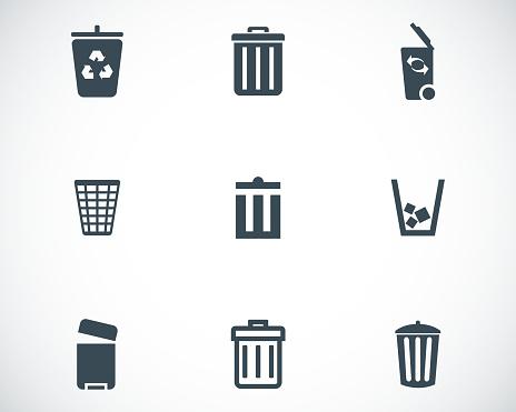 Vector black trash can icons set