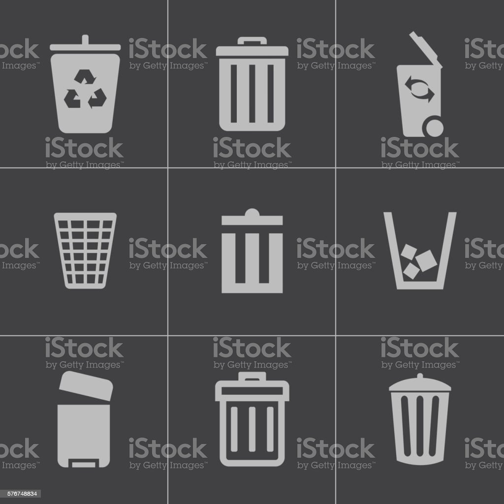 Vector black trash can icons set vector art illustration