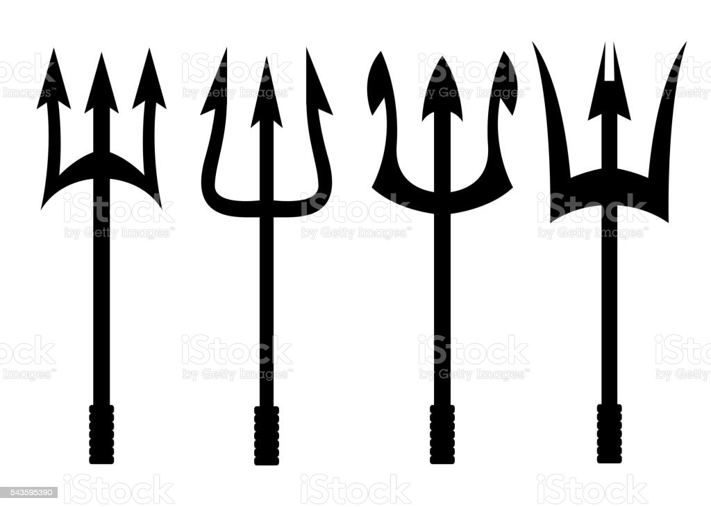 Vector black trident icons set vector art illustration