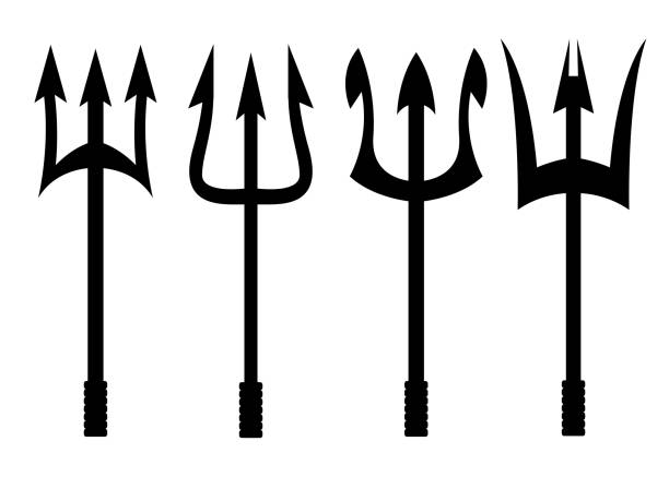 Vector black trident icons set Vector black trident icons set on white background pitchfork agricultural equipment stock illustrations