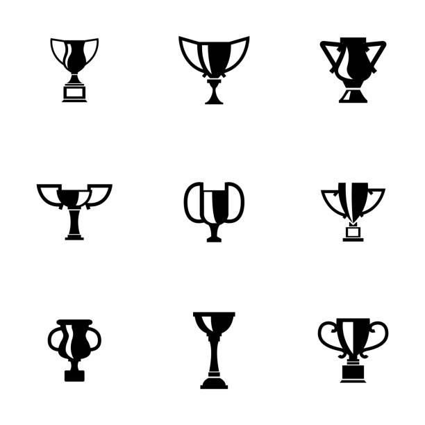 stockillustraties, clipart, cartoons en iconen met vector black trophy icons set - sportkampioenschap