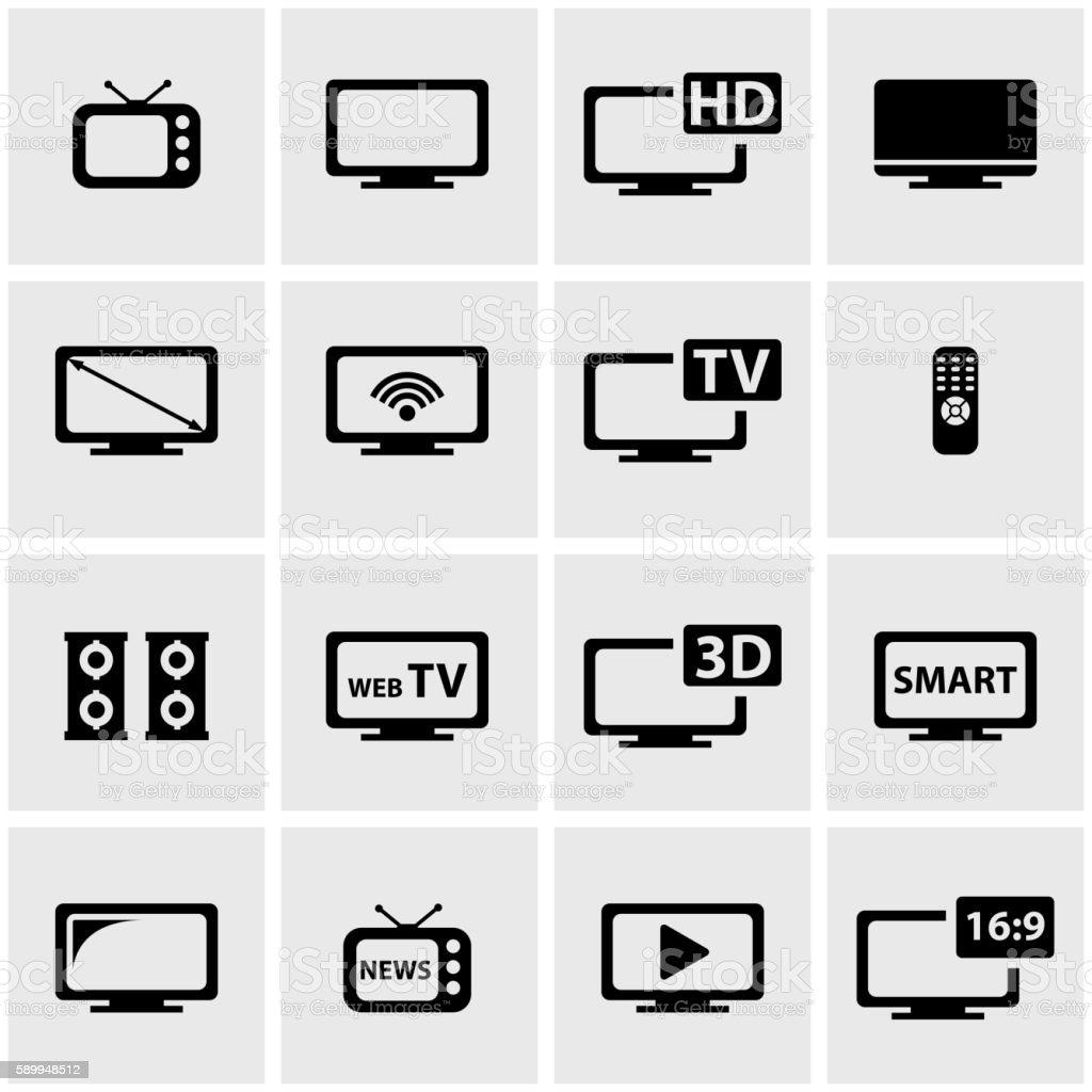 Vector black tv icon set vector art illustration