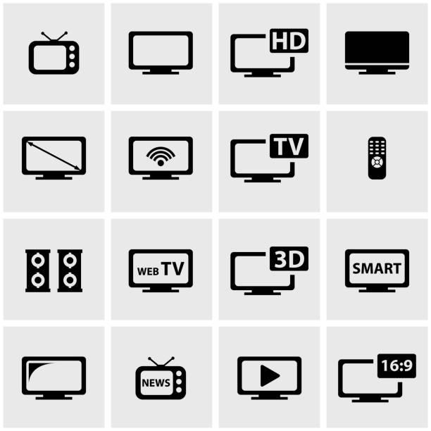 ベクトル黒テレビアイコンセット - テレビ点のイラスト素材/クリップアート素材/マンガ素材/アイコン素材