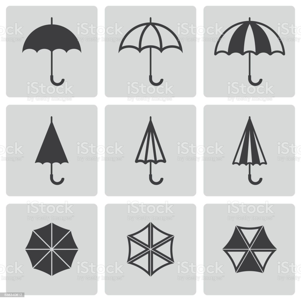 Vector black umbrella icons set vector art illustration
