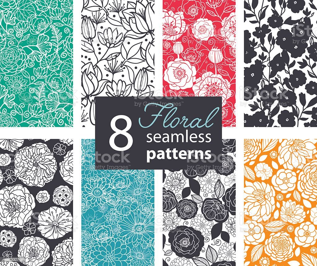 Vector Black White Color Flowers 8 Set Seamless Pattern. Poppy vector art illustration