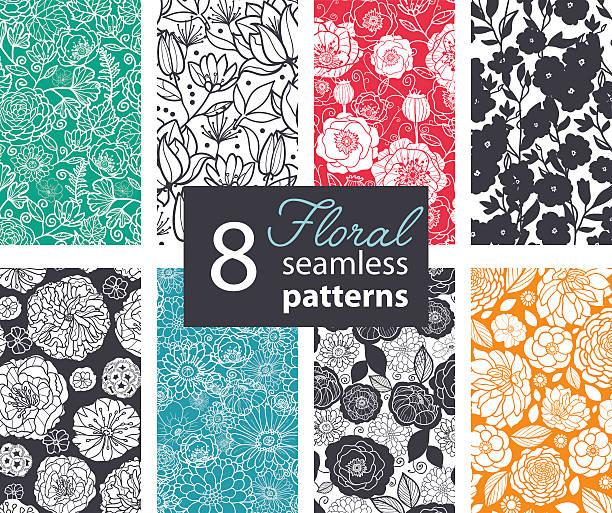 wektor czarny biały kolor kwiaty 8 zestaw bezszwowe wzór. tm - monochrom stock illustrations
