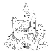 vector black, white fantasy castle sand, sandcastle fort sculpture