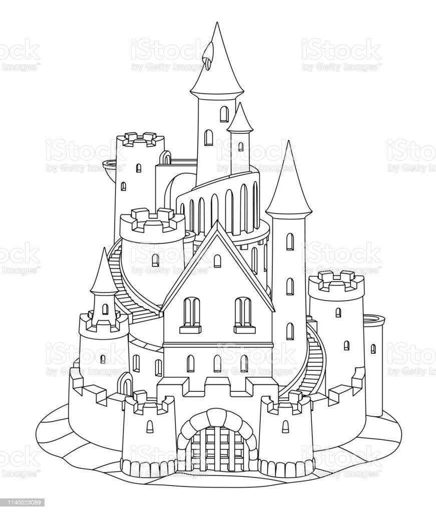 Vector Black White Fantasy Castle Sand Sandcastle Stock