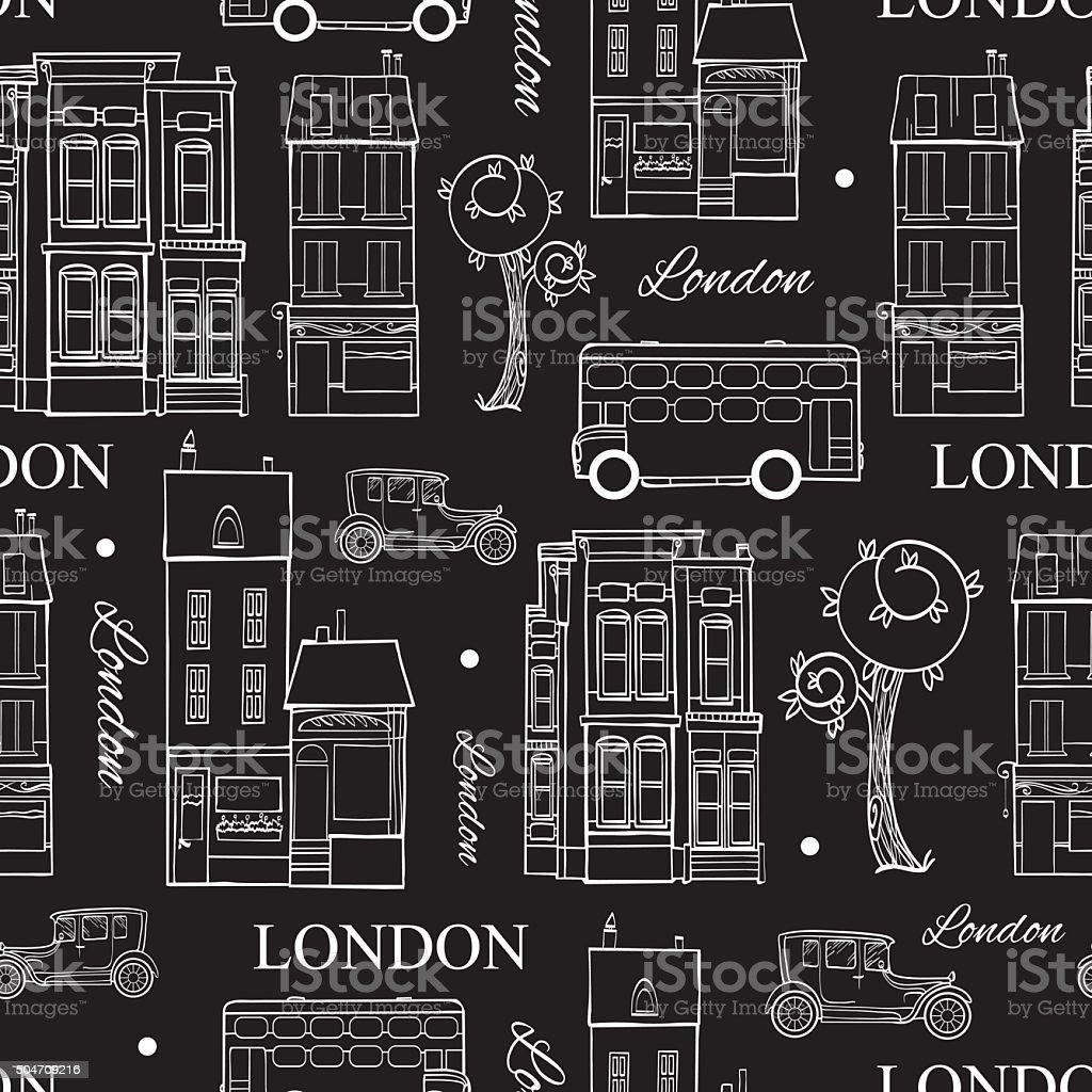 Vektor Schwarzweiß London Straßen Zeichnung Nahtlose Muster Mit ...