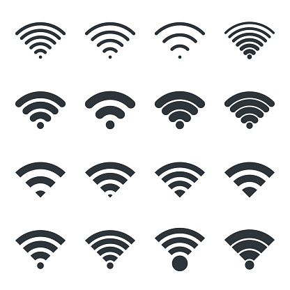 Black wireless icons vector set