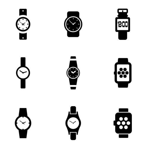bildbanksillustrationer, clip art samt tecknat material och ikoner med vector black wristwatch icon set - armbandsur