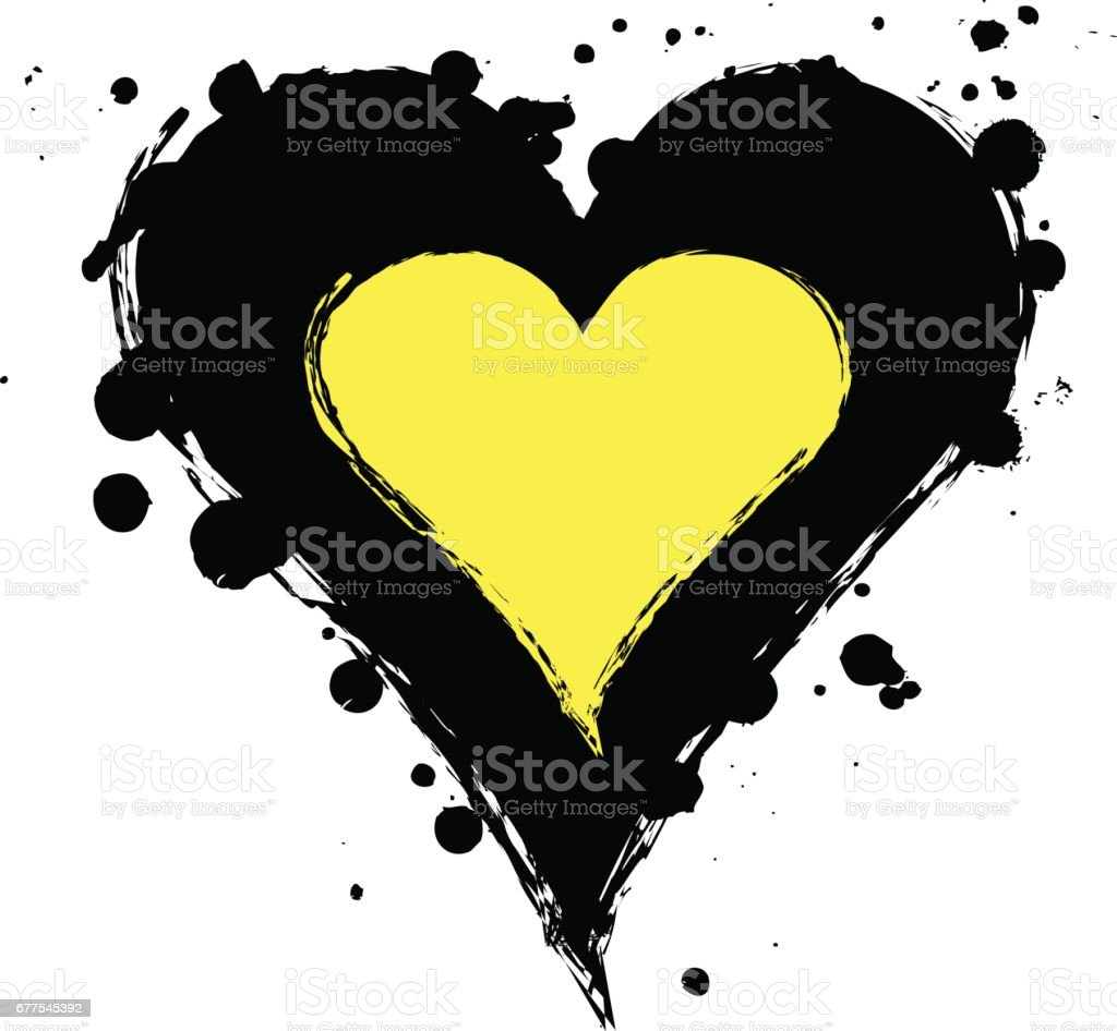 Vector black, yellow graphic grunge illustration of heart sign with ink blot, brush strokes, drops isolated on the white background Series of artistic illustration with splash, blots and brush strokes royalty-free vector black yellow graphic grunge illustration of heart sign with ink blot brush strokes drops isolated on the white background series of artistic illustration with splash blots and brush strokes stock vector art & more images of art