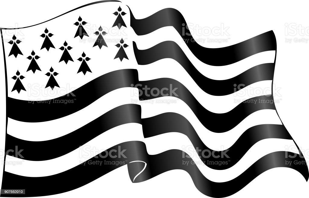 Vector en noir et blanc, brandissant Breton drapeau avec shadow - Illustration vectorielle