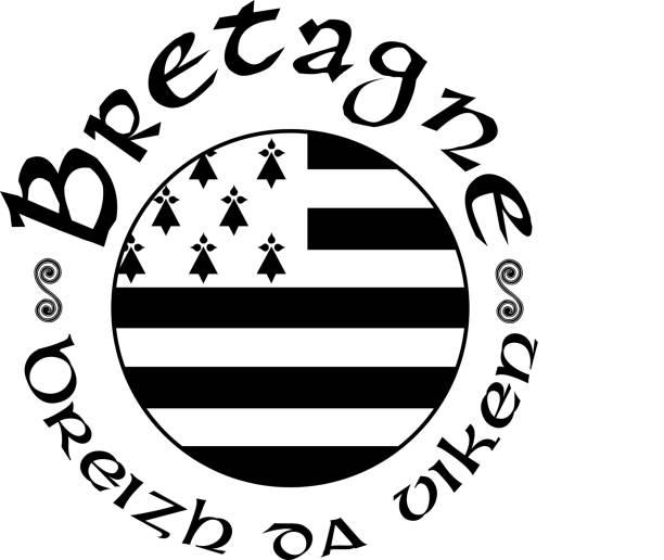 illustrations, cliparts, dessins animés et icônes de vector en noir et blanc, brandissant breton drapeau avec shadow - bretagne