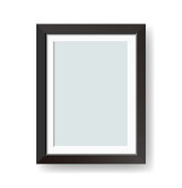 Vector blank black picture frame isolated on white background