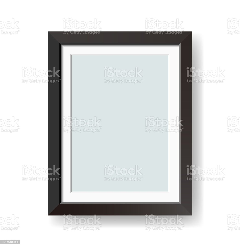 Vector blank black picture frame isolated on white background vector art illustration