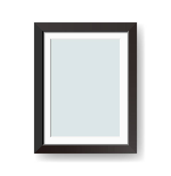 vector blank black picture frame isolated on white background - picture frame borders stock illustrations, clip art, cartoons, & icons