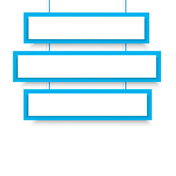 illustrazioni stock, clip art, cartoni animati e icone di tendenza di banner sospesi blu vettoriale 3 line. illustrazione vettoriale. - titolo mondiale