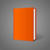 Vector blank book cover perspective orange