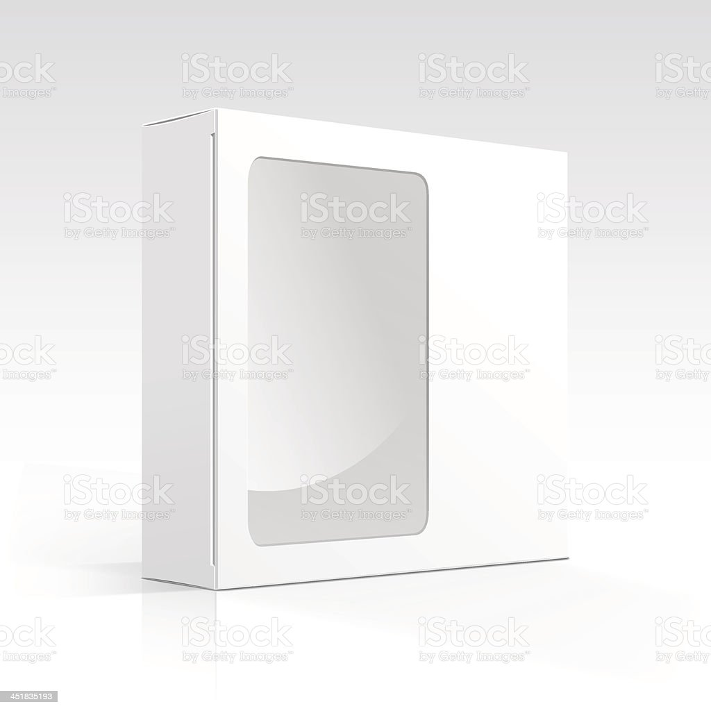 Vector Blank Box with Transparent Window vector art illustration
