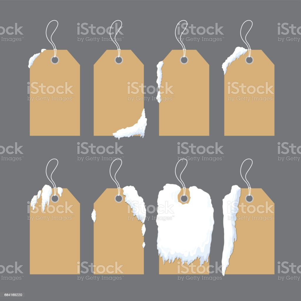 Vector blank brown paper tag label with snow for winter and christmas royalty-free vector blank brown paper tag label with snow for winter and christmas stock vector art & more images of advertisement