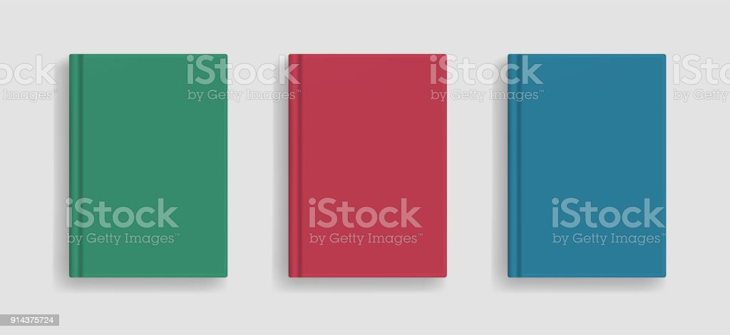 Vector blank colored realistic book cover mockup royalty-free vector blank colored realistic book cover mockup stock illustration - download image now