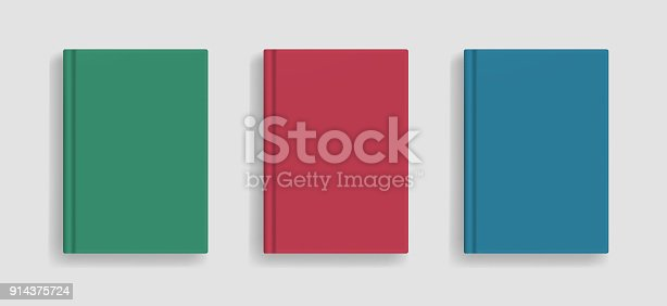istock Vector blank colored realistic book cover mockup 914375724