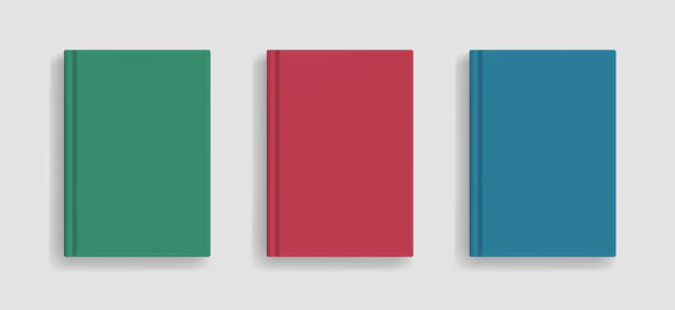 vector blank colored realistic book cover mockup - composition notebook cover stock illustrations, clip art, cartoons, & icons