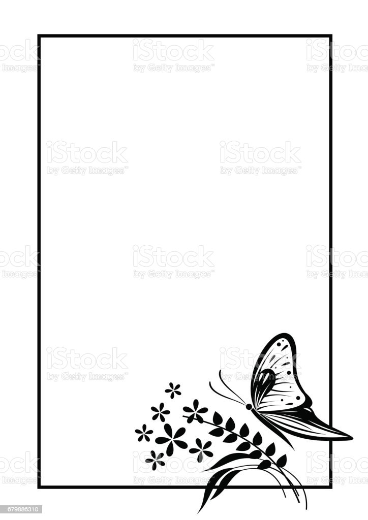 Vector blank for letter or greeting card black and white form with vector blank for letter or greeting card black and white form with frame butterfly m4hsunfo Images