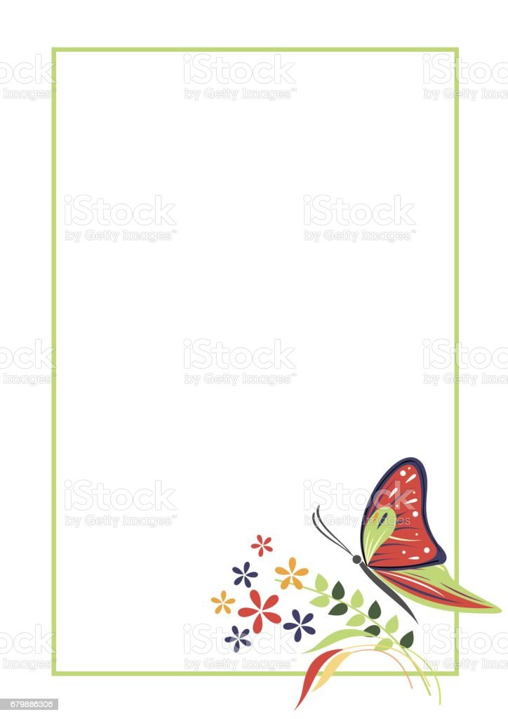 vector blank for letter or greeting card form with frame butterfly and flowers
