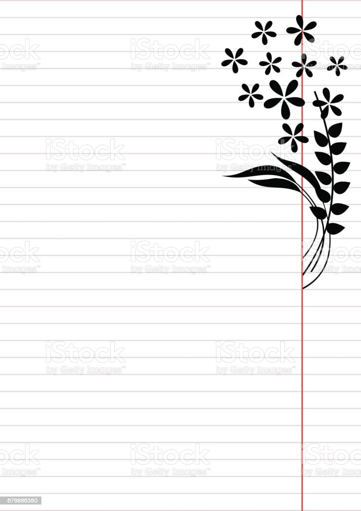vector blank for letter or greeting card paper of notebook white