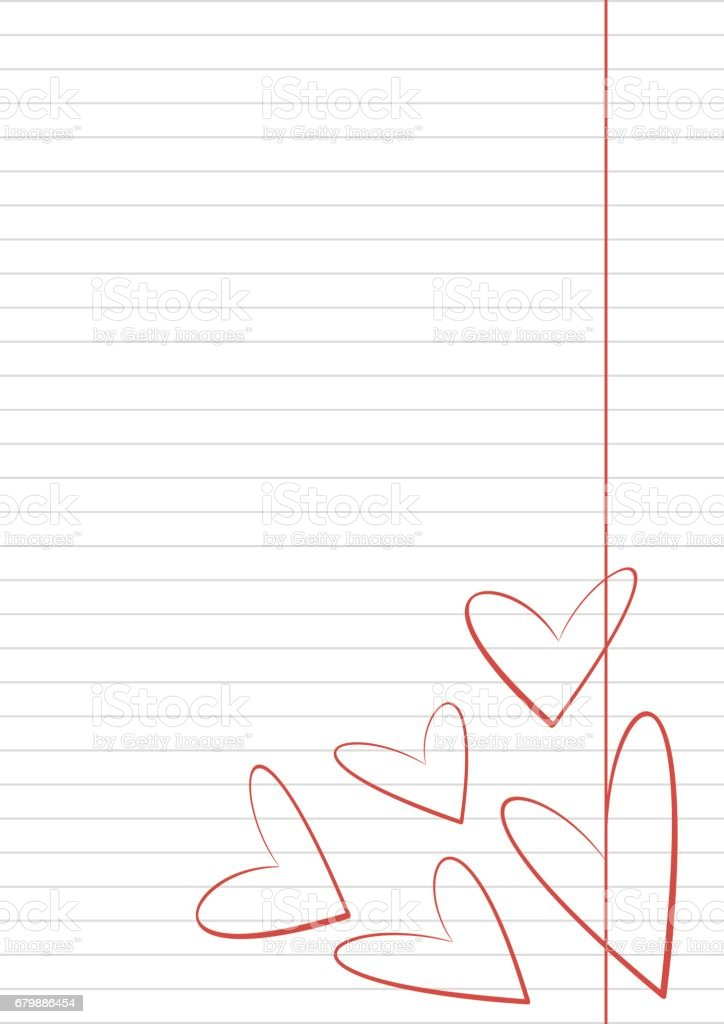 vector blank for letter or greeting card paper of notebook white form with hearts