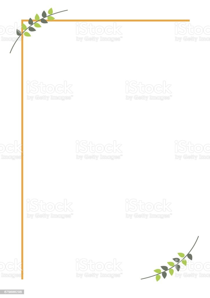 vector blank for letter or greeting card simple form with frame lines and branches