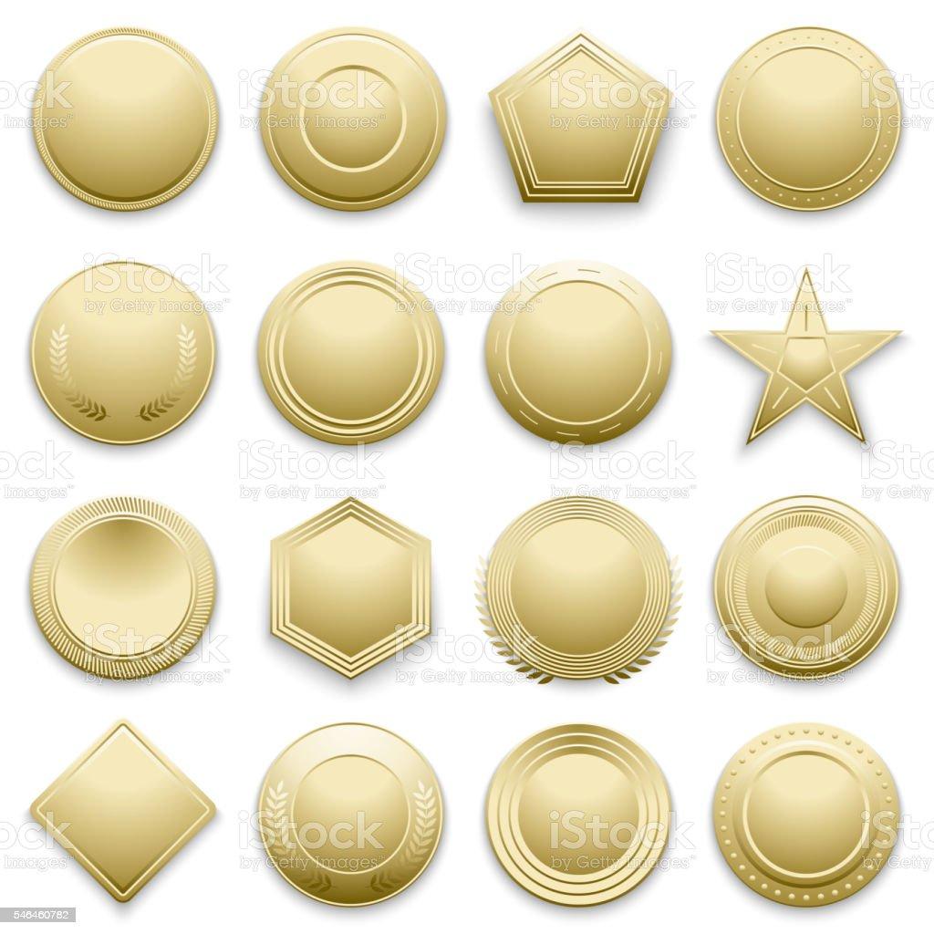 Vector blank gold labels set vector art illustration