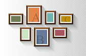 istock Vector blank gold picture frame isolated on white background 1222209760