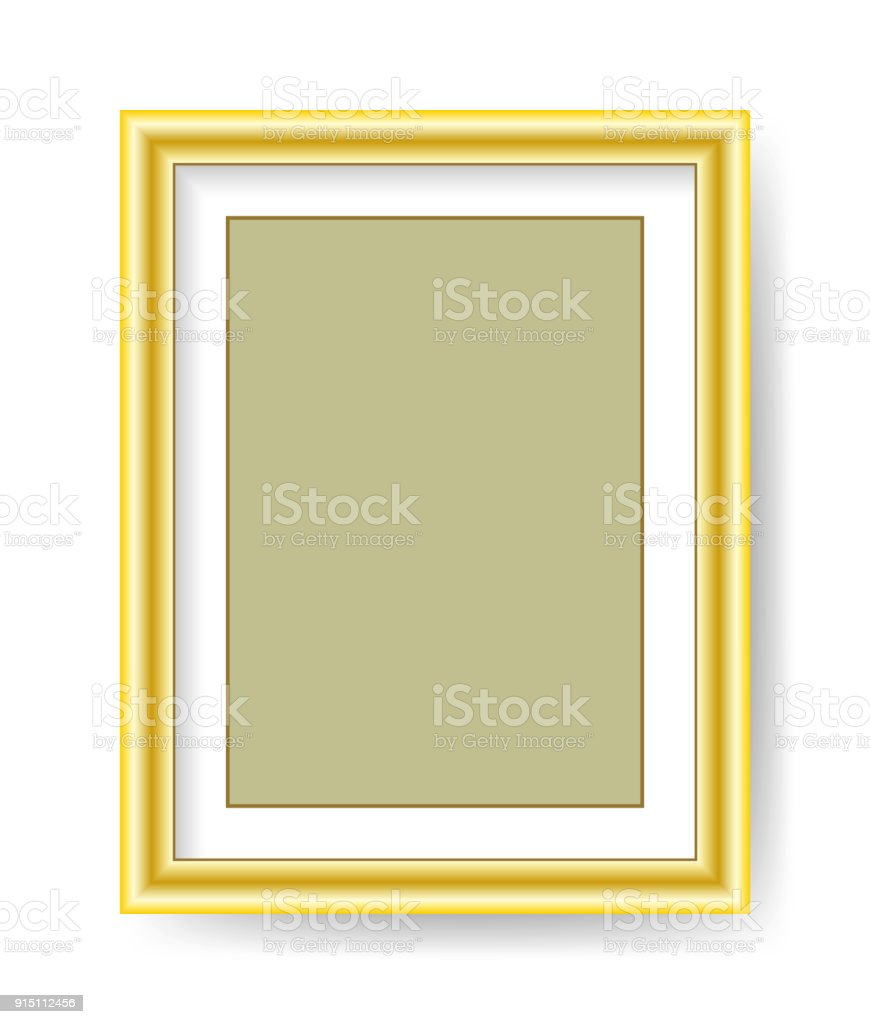 71e1658404ac Vector blank gold picture frame isolated on white background royalty-free  vector blank gold picture