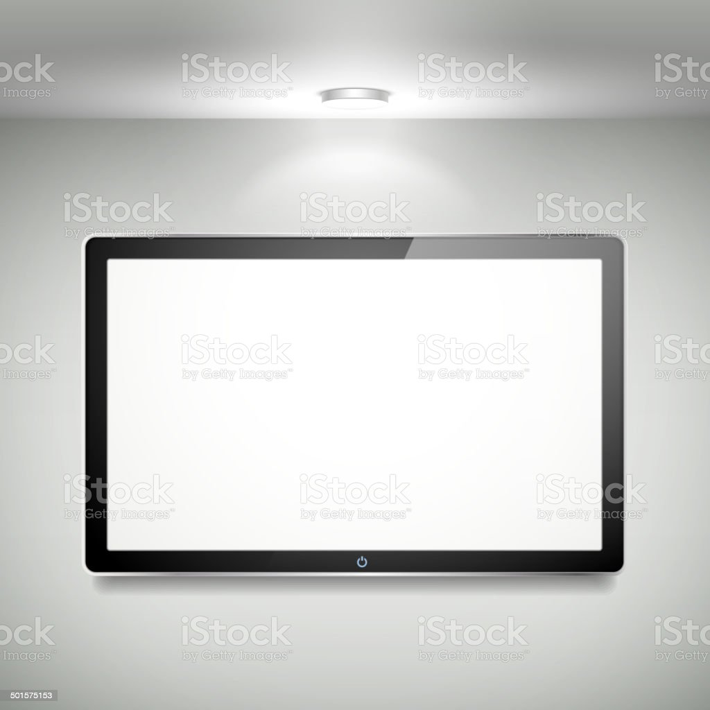 vector blank LCD TV hanging on the wall vector art illustration