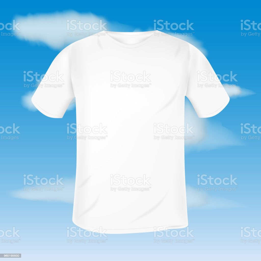 Vector Blank Male Tshirt Template On Blue Sky Background And White