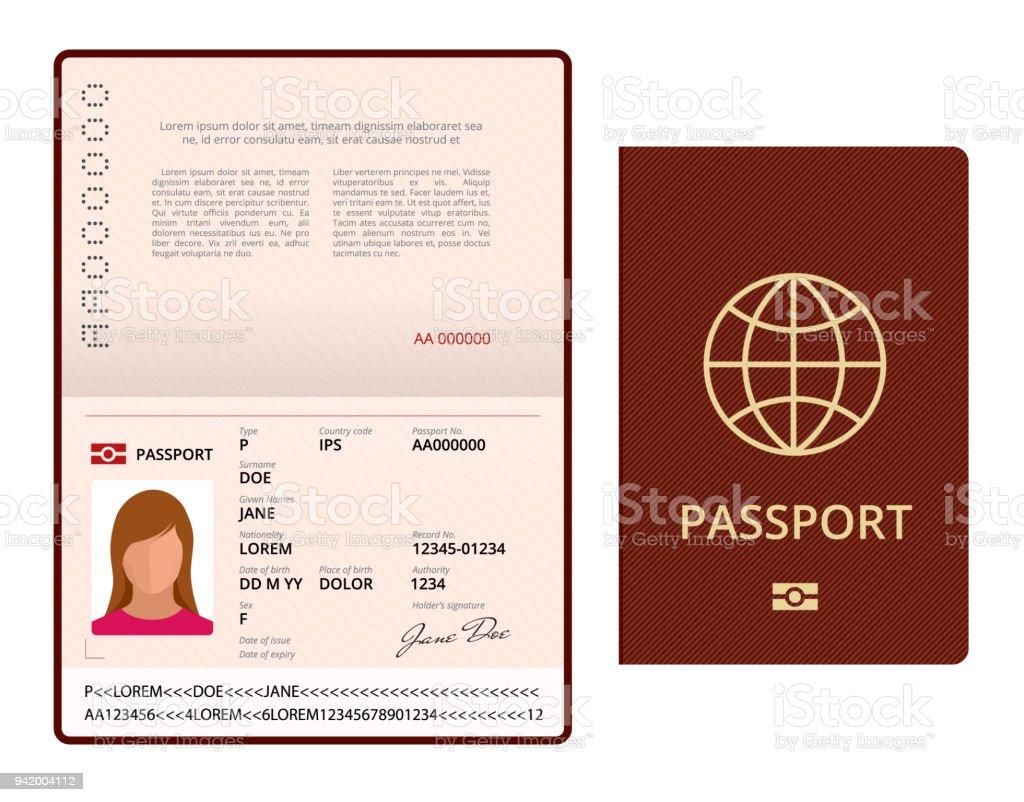 Vektor-leere offene Pass-Vorlage. Reisepass mit Personendaten Beispielseite. Dokument für die Reise und Einwanderung. Vektor-Illustration isoliert. – Vektorgrafik