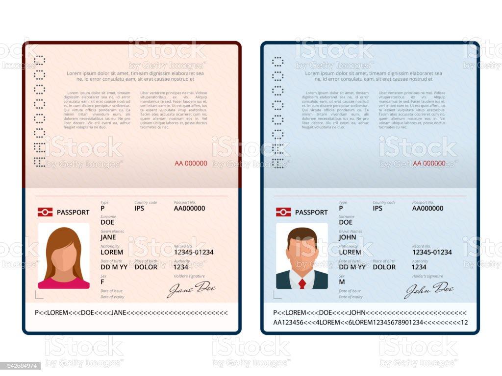 Vektor-leere offene Pass-Vorlage. Reisepass mit Personendaten Beispielseite. Dokument für. Isolierte Vektor-illustration – Vektorgrafik