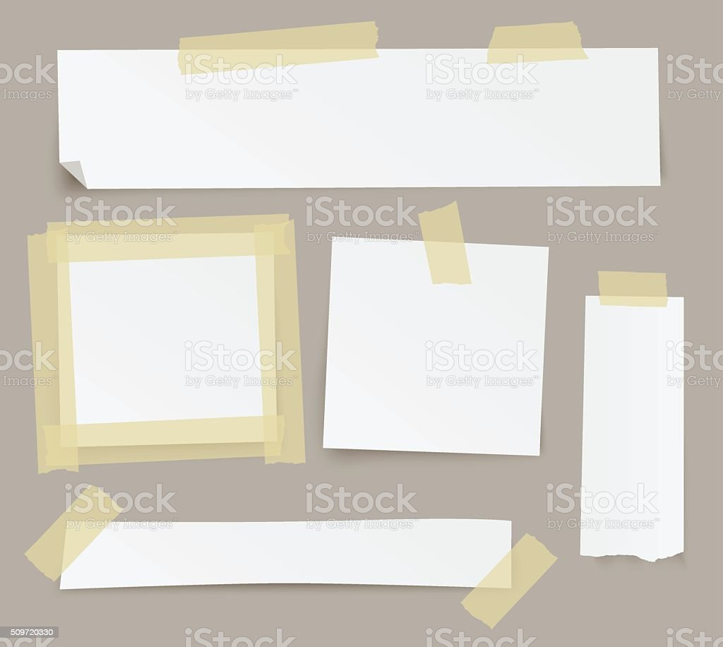 Vector blank paper backgrounds fixed with sticky tape. vector art illustration
