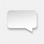 Vector white blank paper speech bubble on transparent background. Realistic 3d illustration. Rectangle shape. Template for your design.