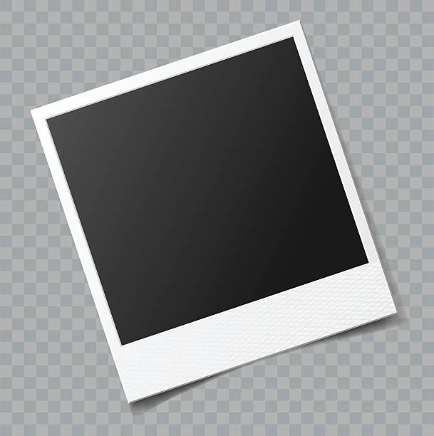 vector blank photo frame with transparent shadow effect - picture frame borders stock illustrations, clip art, cartoons, & icons