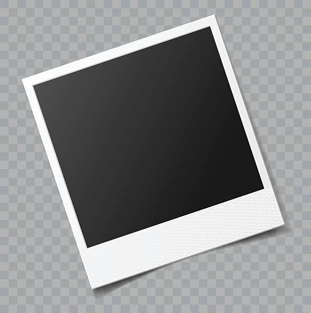 ilustraciones, imágenes clip art, dibujos animados e iconos de stock de vector de en blanco marco de fotos con transparente efecto de sombra - bordes de marcos de fotografías