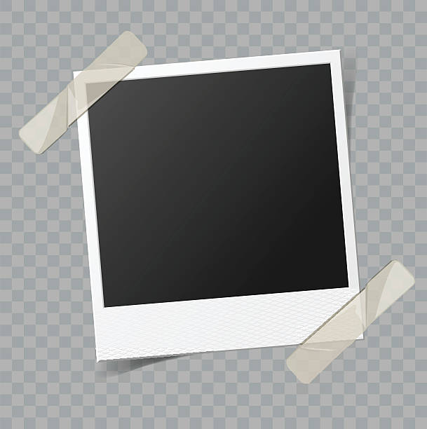 vector blank photo frame with transparent shadow effect - record analog audio stock illustrations