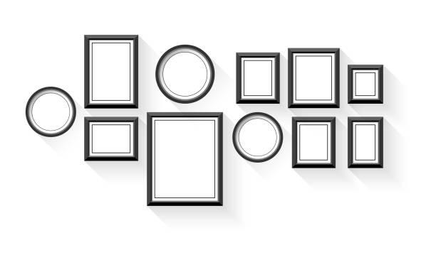 bildbanksillustrationer, clip art samt tecknat material och ikoner med vector tom bildram ställa isolerade på vit bakgrund - painting wall